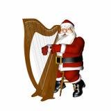 演奏圣诞老人的竖琴 免版税库存图片