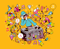 演奏在乙烯基转盘动画片例证的DJ混合的音乐 免版税库存照片