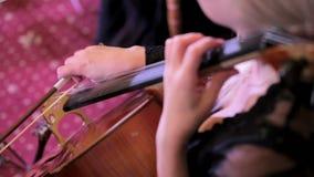 演奏在低音提琴的妇女弓 影视素材