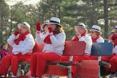 演奏在例假游行, Glens Falls,纽约的小组五颜六色加工好的妇女音乐, 2014年 库存图片