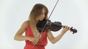 演奏在她音乐会的年轻小提琴手 股票视频