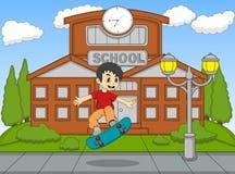 演奏在学校动画片传染媒介例证的小男孩滑板 免版税库存照片