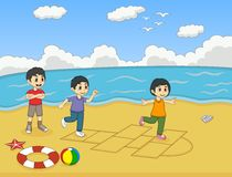 演奏在海滩动画片传染媒介例证的孩子跳房子 免版税库存图片