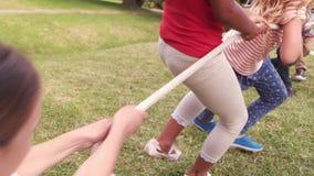 演奏在草的逗人喜爱的学生拔河 股票视频