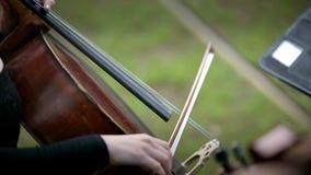 演奏在街道上的音乐家大提琴 股票视频