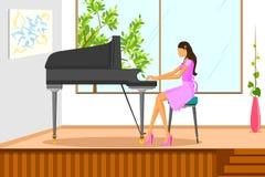演奏在钢琴的美丽的妇女音乐 库存图片