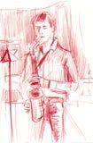 演奏在阶段铅笔的萨克斯管吹奏者手工制造剪影音乐在纸室内设计海报 向量例证