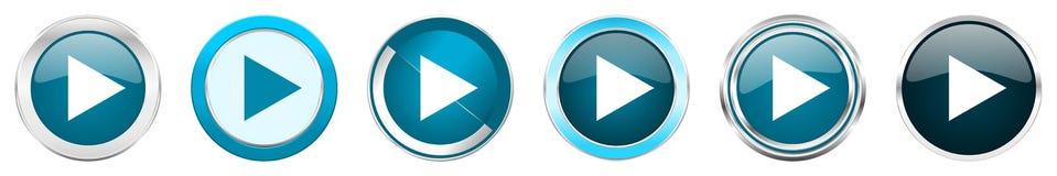 演奏在6个选择的银色金属镀铬物边界象,被设置在白色背景隔绝的网蓝色圆的按钮 皇族释放例证