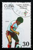 演奏场面,足球运动员,世界杯足球赛1990年-意大利serie,大约1990年 库存照片