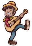 演奏声学吉他和舞蹈走的愉快的年轻人 向量例证
