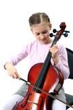 演奏大提琴的女孩 免版税库存图片