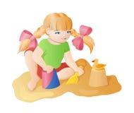 演奏女孩的动画片 向量例证