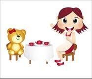 演奏女用连杉衬裤的熊女孩 免版税库存照片