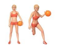演奏妇女的篮球 向量例证