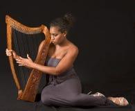 演奏妇女的非洲裔美国人的竖琴 免版税库存照片