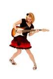 演奏废物的女孩吉他 图库摄影