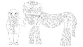 演奏打印的贺卡、海报、横幅和彩图页的孩子中国舞狮反重音的 传染媒介illus 皇族释放例证