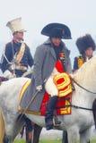 演奏拿破仑・波拿巴的Reenactor在Borodino 免版税库存图片