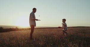 演奏有他的儿子的爸爸在网球的自然,美好的日落,一起花费美好时光 影视素材