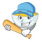 演奏棒球在平底锅的动画片炒面 向量例证