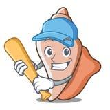 演奏棒球逗人喜爱的壳字符动画片 免版税库存照片