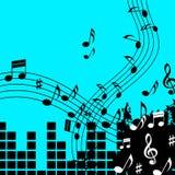 演奏歌曲或流行音乐的绿色音乐背景展示 免版税图库摄影