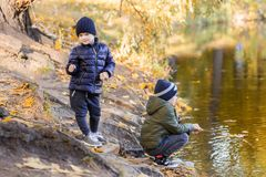 演奏渔用棍子的两个年轻男孩在池塘附近在秋天公园 弟弟获得乐趣在湖或河附近在秋天 愉快 库存照片