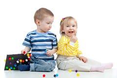 演奏玩具的儿童马赛克 库存图片
