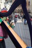 演奏竖琴音乐的妇女在纳沃纳广场 免版税库存照片