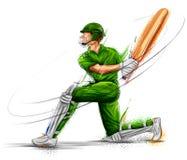 演奏蟋蟀冠军体育的板球运动员 向量例证