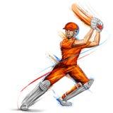 演奏蟋蟀冠军体育的板球运动员 皇族释放例证