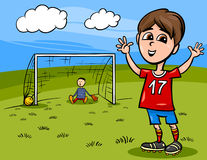 演奏足球动画片例证的男孩 免版税库存图片