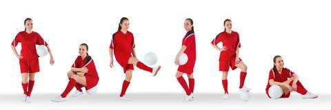 演奏足球拼贴画的妇女 免版税库存图片