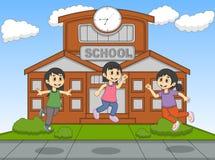 演奏跃迁的孩子在学校动画片传染媒介例证 库存图片