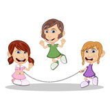 演奏跳绳动画片的女孩 库存照片