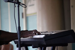 演奏键盘的爵士乐音乐家 库存图片