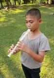 演奏长笛的年轻男孩在公园 库存照片