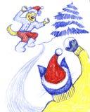 演奏雪球的逗人喜爱的小的猫和狗字符,获得乐趣,冬天活动,动画片例证 小的小猫 免版税图库摄影