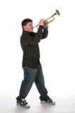 演奏青少年的喇叭年轻人的男孩 库存图片