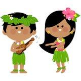 演奏音乐和hula跳舞的夏威夷孩子 图库摄影