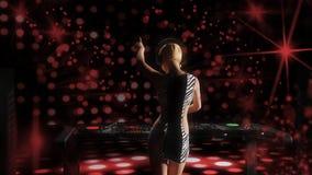 演奏音乐- 3D的年轻白肤金发的妇女dj翻译 库存照片