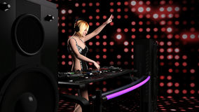 演奏音乐- 3D的年轻性感的白肤金发的妇女dj翻译 图库摄影