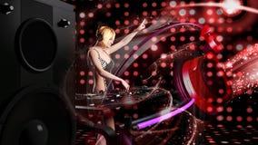 演奏音乐- 3D的年轻性感的白肤金发的妇女dj翻译 库存图片