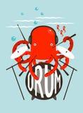 演奏鼓的红色章鱼 向量例证