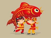 演奏龙的三个中国孩子跳舞庆祝农历新年来临 库存例证