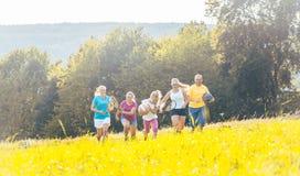 演奏,跑和做体育的家庭在夏天 免版税库存图片