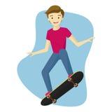 演奏滑板有白色背景的男孩 免版税图库摄影
