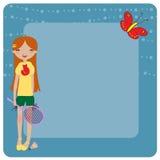 演奏年轻人的羽毛球质朴的女孩 免版税库存图片