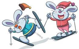 演奏滑雪的兔宝宝 图库摄影