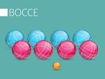 演奏bocce和petanque的一套球 库存照片